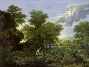 Adam Prints - The Garden of Eden Print by Nicolas Poussin
