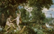 Rubens Painting Prints - The Garden of Eden with the Fall of Man Print by Jan Brueghel and Rubens