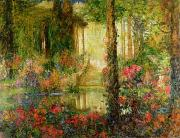 Reflection Of Trees Paintings - The Garden of Enchantment by Thomas Edwin Mostyn