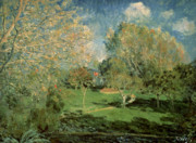 Family  On Canvas Paintings - The Garden of Hoschede Family by Alfred Sisley