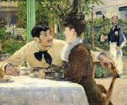 Cafe Posters - The Garden of Pere Lathuille Poster by Edouard Manet