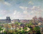 Jardins Painting Metal Prints - The Garden of the Tuileries Metal Print by Camille Pissarro