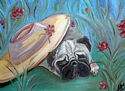 Pets Paintings - The Garden Pug by Lisa Stanley