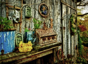 Old Pitcher Posters - The Garden Shed Poster by Kathy Jennings