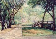 Garden Scene Drawings - The Garden by SiamArtist Gallery
