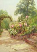 Bushes Posters - The Garden Steps   Poster by Ernest Walbourn