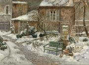 Snowfall Paintings - The Garden under Snow by Eugene Chigot