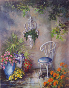 Overhanging Paintings - The Garden Wall by Deborah Smith