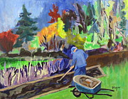 Landscaping Paintings - The Gardener by Betty Pieper