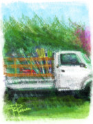 Rake Digital Art Framed Prints - The Gardeners Truck Framed Print by Russell Pierce