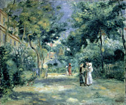 Tree Lined Paintings - The Gardens in Montmartre by Pierre Auguste Renoir