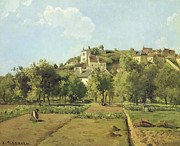 Camille Pissarro Framed Prints - The Gardens of the Hermitage Framed Print by Camille Pissarro