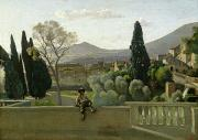 Italian Landscape Paintings - The Gardens of the Villa dEste by Jean Baptiste Camill  Corot