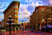 Building Digital Art Originals - The Gastown Flat Iron Building by Julius Reque