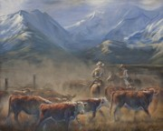 Cowboys  Painting Originals - The Gate Tally by Mia DeLode