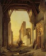 Camels Posters - The Gates of El Geber in Morocco Poster by Francois Antoine Bossuet