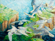Sea Birds Paintings - The Gathering 2 by Gill Bustamante
