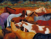 Wild Mustangs Posters - The Gathering Poster by Frances Marino