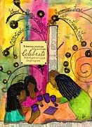 African-american Mixed Media Framed Prints - The Gathering of GOOD Friends Framed Print by Angela L Walker