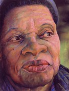 African American Pastels Framed Prints - The Gaze Of Mother Witt Framed Print by Curtis James