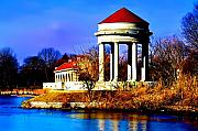 The Gazebo And Boathouse At Franklin Delano Roosevelt Park Print by Bill Cannon