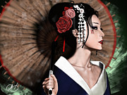 Japan Digital Art Prints - The Geisha Print by Pete Tapang