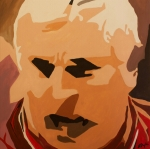 Basketball Abstract Painting Originals - The General- Bobby Knight by Steven Dopka