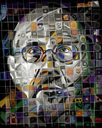 Mosaic Glass Portrait Mixed Media Prints - The Genius Print by Russell Pierce