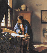 Dividers Prints - The Geographer, 17th Century Artwork Print by Sheila Terry