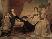 First Ladies Framed Prints - The George Washington Family Framed Print by Everett