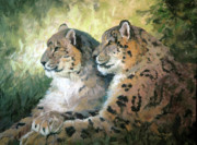 Leopard Pastels Posters - The Gesture - leopards Poster by Mary Ann Cherry