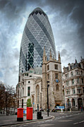 Post Box Framed Prints - The Gherkin Framed Print by Donald Davis