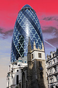 Red Centre Posters - The Gherkin London Poster by Jasna Buncic