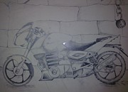Bike Drawings - The Ghost Ryder by Joni Mazumder