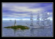 Storm Prints Digital Art Prints - The Ghost Ships Print by William  Ballester