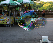 Woman In Summer Meadow Framed Prints - The Giant Bubble at Bethesda Terrace Framed Print by Lee Dos Santos