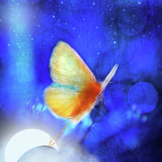 Surrealist Photos - The Giant Butterfly and The Moon by Aimelle