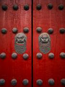 Doorknobs Prints - The Giant Red Doors To The Forbidden Print by Justin Guariglia