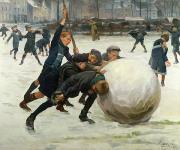Blizzard Scenes Prints - The Giant Snowball Print by Jean Mayne
