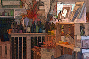 Wine Shop Prints - The Gift Shop Print by Ron Jones
