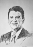 Ronald Reagan Drawings Prints - The Gipper Print by Stan Hamilton