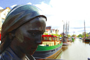 Fishermen Paintings - The Girl at the Harbor by Stefan Kuhn