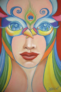 Peacock Pastels Metal Prints - The Girl behind the Peacock Mask Metal Print by Xiomara Aleksic