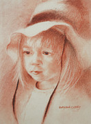 Drawings Pastels Framed Prints - The Girl in the Hat Framed Print by MaryAnn Cleary