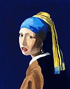 Girl With A Pearl Earring Prints - The Girl with a Pearl Earring after Vermeer Print by Rodney Campbell