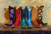 Cowboyboots Paintings - The Girls Are Back In Town by Frances Marino