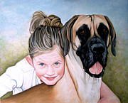 Great Dane Oil Paintings - The Girls by Caroline Collinson