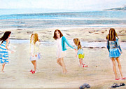 Sisters Drawings - The Girls on Newport Beach by Beth Saffer