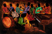 Jazz Paintings - The GitDown HoeDown by Larry Martin