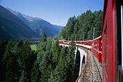 Saint Moritz Prints - The Glacier Express Crosses A Bridge Print by Taylor S. Kennedy